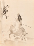 Asian:Japanese, A Japanese Ink Painting Depicting Sage on an ox After Kano Tan'yu .23-1/4 x 17-1/2 inches (59.1 x 44.5 cm) (sight). ...
