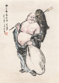 Asian:Chinese, Zhang Guangli (Chinese, b. 1940). Budai, August 1982. Ink and color on paper. 26-1/4 x 18-1/4 inches (sight). Inscribed ...