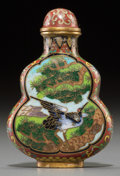 Asian:Chinese, A Chinese Cloisonné Double Gourd Snuff Bottle. Marks:three-character jingtailan mark. 2-1/2 inches high (6.4 cm). ...