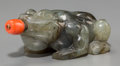 Asian:Chinese, A Chinese Carved Labradorite Toad-Form Snuff Bottle with CoralStopper. 2-7/8 inches long (7.3 cm). ...