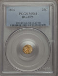 California Fractional Gold , 1876 25C Indian Round 25 Cents, BG-879, R.4, MS64 PCGS. PCGSPopulation: (26/15). NGC Census: (1/1). ...