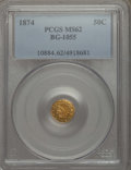 California Fractional Gold , 1874 50C Indian Round 50 Cents, BG-1055, High R.4, MS62 PCGS. PCGSPopulation: (23/24). NGC Census: (3/4). ...