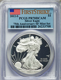 2012-S $1 Silver Eagle, 75th Anniversary San Francisco Mint Set, First Strike PR70 Deep Cameo PCGS. This lot will also i...