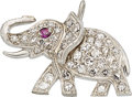 Estate Jewelry:Pendants and Lockets, Diamond, Ruby, Platinum Charm. ...