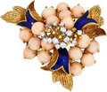 Estate Jewelry:Brooches - Pins, Diamond, Coral, Enamel, Gold Brooch, La Triomphe. ...