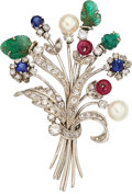 Estate Jewelry:Brooches - Pins, Diamond, Multi-Stone, Cultured Pearl, White Gold Brooch. ...