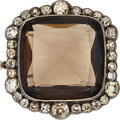 Estate Jewelry:Brooches - Pins, Antique Smoky Quartz, Colored Diamond, Silver-Topped Gold Brooch. ...