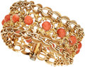 Estate Jewelry:Bracelets, Coral, Gold Bracelet . ...