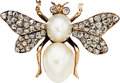 Estate Jewelry:Brooches - Pins, Diamond, Cultured Pearl, Gold Pendant-Brooch T...