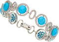 Estate Jewelry:Bracelets, Turquoise, Diamond, White Gold Bracelet . ...