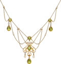 Estate Jewelry:Necklaces, Edwardian Peridot, Freshwater Cultured Pearl, Gold Necklace . ...