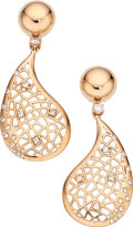 Estate Jewelry:Earrings, Diamond, Rose Gold Earrings . ...