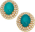 Estate Jewelry:Earrings, Turquoise, Diamond, Gold Earrings. ...