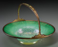 Art Glass:Tiffany , Tiffany Furnace Enameled Gilt Bronze Mounted Green Pastille GlassBasket. Circa 1920. Stamped LOUIS C. TIFFANY FURNACES INC....