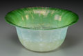 Art Glass:Tiffany , Tiffany Studios Green Pastille Glass Bowl. Circa 1903. EngravedL.C. Tiffany - Favrile S - 1925. Ht. 3-5/8 x Di. 8 in.. ...