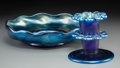Art Glass:Tiffany , Tiffany Studios Blue Favrile Glass Bowl with Flower Frog. Circa1917. Engraved L.C. Tiffany - Favrile, 2540 L. Di. 9 in....(Total: 2 Items)