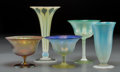 Art Glass:Tiffany , Five Various Tiffany Studios Favrile and Pastille Glass Compotesand Vases. Circa 1910-1927. Engraved L.C. Tiffany - Favri...(Total: 5 Items)