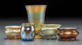 Art Glass:Tiffany , Five Tiffany Studios Gold Favrile Glass Smalls. Circa 1902-1910.Engraved L.C.T., R 258. Ht. 3-1/2 in. (tallest). ... (Total:5 Items)