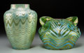 Art Glass:Loetz, Two Loetz Iridescent Glass Vases. Circa 1900. Engraved Loetz,Austria. Ht. 7 in.. ... (Total: 2 Items)