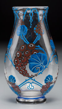 Marcel Goupy Art Deco Enameled Glass Vase Circa 1925. Enameled M Goupy Ht. 7-1/4 in