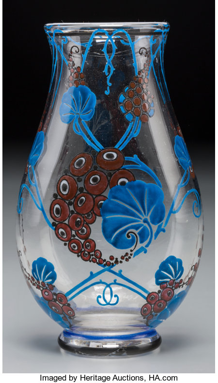 Marcel Goupy Art Deco Enameled Glass Vase Circa 1925. Enameled M GoupyHt. 7-1/4 in....