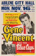 Music Memorabilia:Posters, Gene Vincent Abilene City Hall Concert Poster (1959). Extremely Rare....