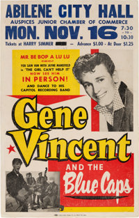 Gene Vincent Abilene City Hall Concert Poster (1959). Extremely Rare