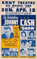 Music Memorabilia:Posters, Johnny Cash Grand Ole Opry KRNT Theatre Concert Poster (1964). VeryRare....