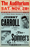 Music Memorabilia:Posters, Johnny Carroll Klamath Falls Concert Poster (1959). ExtremelyRare....