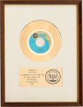 "Music Memorabilia:Awards, Cowsills ""Hair"" RIAA White Mat Gold Record Sales Award (MGM K14026, 1969)...."
