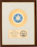 "Music Memorabilia:Awards, Edwin Hawkins Singers ""Oh Happy Day"" RIAA White Mat Gold RecordSales Award (Pavilion PBS 20,001, 1969)...."