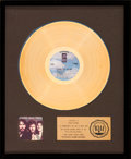 Music Memorabilia:Awards, The Souther, Hillman, Furay Band RIAA Gold Record Sales Award (Asylum 7E-1006, 1974)....