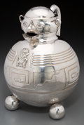 Silver Holloware, South American:Holloware, A Peruvian Silver Figural Pitcher, 20th century. Marks:(crown-shield-R. & Co., 0.900). 10-1/2 inches high (26.7 cm).37.19 ...