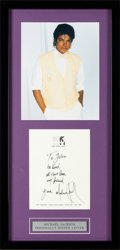 Music Memorabilia:Autographs and Signed Items, Michael Jackson Signed Handwritten Note (circa 1980s)....