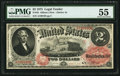 Large Size:Legal Tender Notes, Fr. 45 $2 1875 Legal Tender PMG About Uncirculated 55.. ...