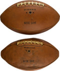 Football Collectibles:Balls, 1950's Notre Dame Team Issued Footballs Lot of 2....