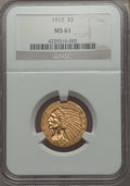 Indian Half Eagles: , 1915 $5 MS61 NGC. NGC Census: (1675/2986). PCGS Population:(624/2981). Mintage 588,075. ...