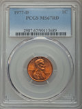 Lincoln Cents, 1977-D 1C MS67 Red PCGS. PCGS Population: (28/2). Mintage 4,194,062,336. ...
