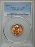 Lincoln Cents, 1956-D/D 1C Repunched Mintmark, FS-502 MS66 Red PCGS. PCGS Population: (7/0). Mintage 1,098,201,088....