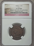 Half Cents, 1833 1/2 C C-1, B-1, R.1, VF20 NGC. This lot will also include a:1835 1/2 C VG10 NGC. . Both From the Ex: Stack's ... (Total: 2coins)