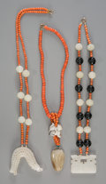 Asian:Chinese, Three Carved Jade and Coral Necklaces. 23-3/4 inches long (60.3 cm)(chain length, longest). Special Note:. Prospectiv... (Total: 3Items)