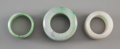 Asian:Chinese, Three Carved Jadeite Archer's Rings. 1 inch high x 1-1/4 inchesdiameter (2.5 x 3.2 cm) (largest). ... (Total: 3 Items)