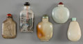Asian:Chinese, Five Chinese Carved Jade, Hardstone, and Reverse-Painted GlassSnuff Bottles. 3-1/4 inches high (8.3 cm) (glass bottle). ...(Total: 5 Items)