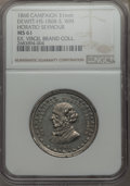 U.S. Presidents & Statesmen, 1868 Horatio Seymour Presidential Campaign Medal, DeWitt-HS-1868-3,MS61 NGC. White metal. 31 mm. Dies by George Lovett. The...