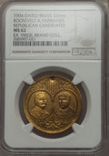 U.S. Presidents & Statesmen, 1904 Roosevelt and Fairbanks Campaign Medal, MS62 NGC. Brass. 32mm. Holed at 12 o'clock. This sharply detailed MS62 specime...