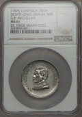 U.S. Presidents & Statesmen, (1864) G.B. McClellan Campaign Medal, DeWitt-GMcC-1864-24, MS61NGC. White metal. 28 mm. The design elements of this attract...