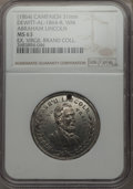 U.S. Presidents & Statesmen, (1864) Abraham Lincoln Campaign Medal, DeWitt-AL-1864-8, MS63 NGC.White metal. 31 mm. Holed at 12 o'clock. This issue has s...