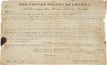 Autographs:U.S. Presidents, John Quincy Adams Land Grant Signed....