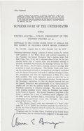 Autographs:Statesmen, [Richard Nixon]. Associate Justice Warren E. Burger Signed SlipOpinion on U.S. v. Nixon, President of the United States, et a...