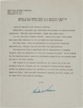 Autographs:U.S. Presidents, Herbert Hoover Signed Remarks to the Republican Lincoln Day BoxSupper Party....